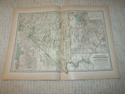 Vintage 1897  Map Nevada & Utah Century Atlas Double Page
