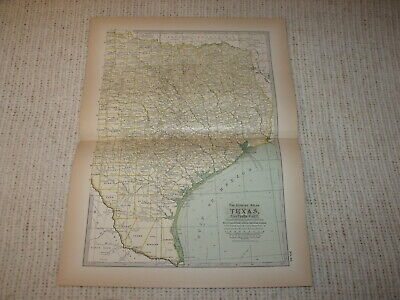 Vintage 1897  Map Texas Eastern Part Century Atlas Double Page