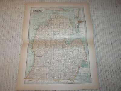 Vintage 1897  Map Michigan Southern Part Century Atlas Double Page