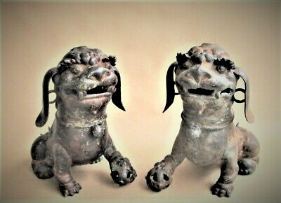 Pair Large Antique Chinese Bronze Foo Dogs Lion Statues