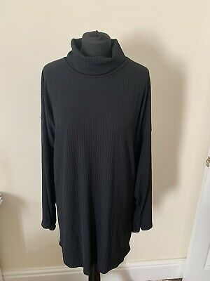 Pretty Little Thing Black Ribbed Roll Neck Oversize Flare Sleeve Dress Size 12