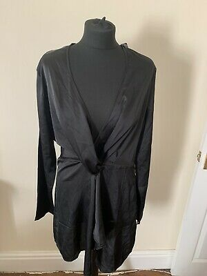Pretty Little Thing Black Silky Long Sleeve V Neck Twist Front Dress Size 14 NEW