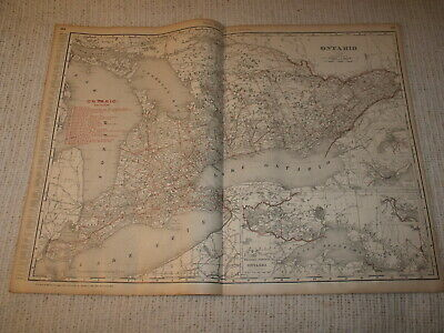 Vintage 1901 Ontario Canada Map Rand McNally Business Atlas Double Page