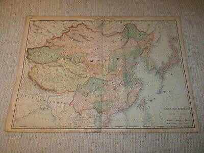 Vintage 1901 Chinese Empire Map Rand McNally Business Atlas Double Page