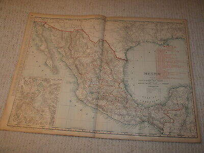 Vintage 1901 Mexico Map Rand McNally Business Atlas Double Page