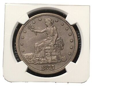 1877-S Trade Dollar NGC Xf Details Very Little Signs Of Wear Bent Not Cleaned