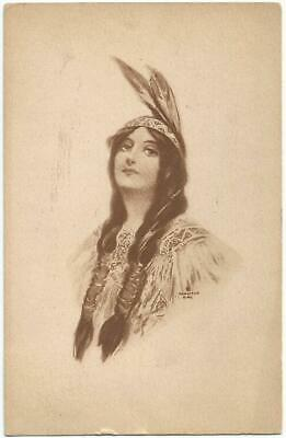 Hamilton King Artist Signed Indian Princess Postcard 1911