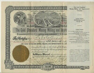 Original 1909 The Gold Standard Mining Milling and Improvement Co. South Dakota