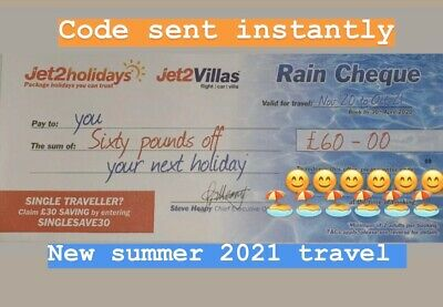 1 X New Summer 2021 Jet2Holidays £60 Rain Cheque voucher Promo Code