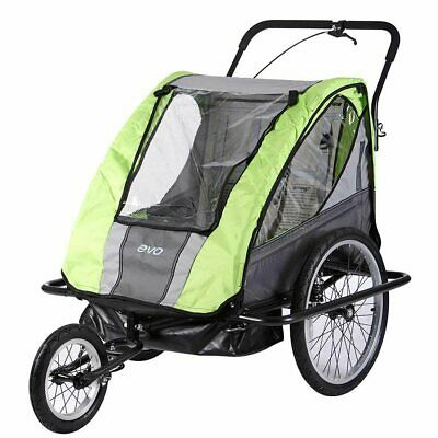 New Evo E-Tec 2-Up AT Suspension 2 Child Infant Bike Trailer & Jogging Stroller