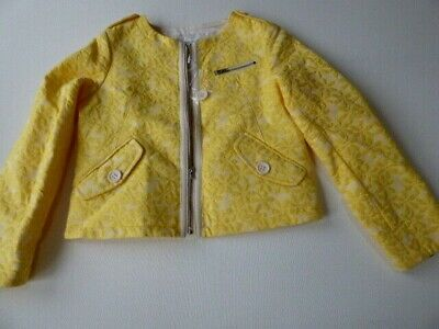 Bonpoint buttercup biker jacket 9 10 girls coat yellow floral NEW cotton French