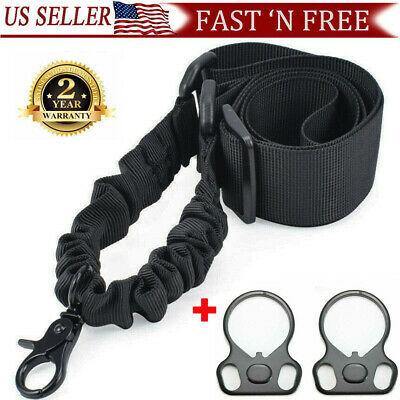 Single One Point Tactical Rifle Gun Sling w/ Quick Release Buckle QD End Plates