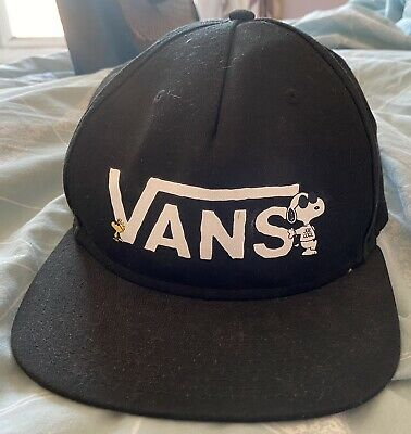 Vans Off The Wall Peanuts Snoopy Charlie Brown Black Baseball Cap Rare