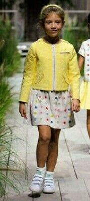 Bonpoint buttercup biker jacket 5 6 girls coat yellow floral NEW cotton French