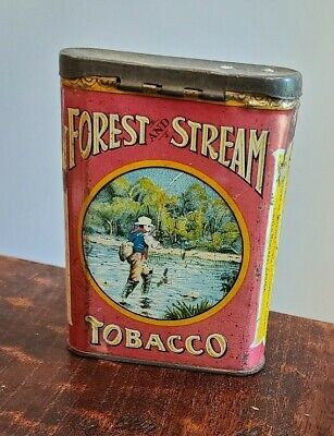 Antique FOREST AND STREAM Tobacco Pocket Tin ~ Luxury & Comfort ~ Fly Fishing