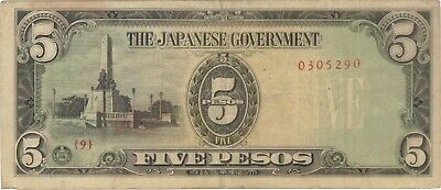 5 Pesos Philippines Japanese Invasion Money Currency Note Banknote Bill Jim Wwii