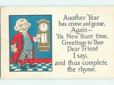 Pre-Linen new year MAN POINTS TO HIS ANTIQUE CLOCK ON THE WALL HL1218