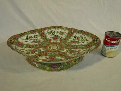 "Large Antique Chinese Export Rose Medallion 15"" Fruit Compote / Canton Bowl"