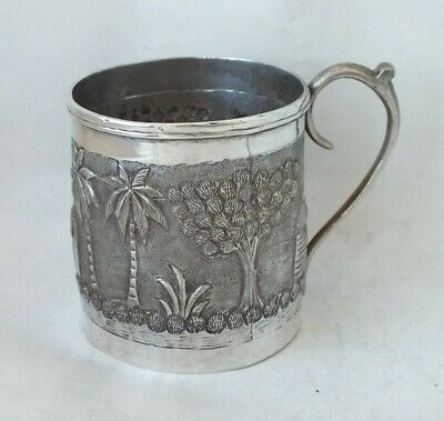 Decorative Indian Solid Silver Cup/ Mug c. 1930/ H 6.3 cm/ 86 g/ UNMARKED