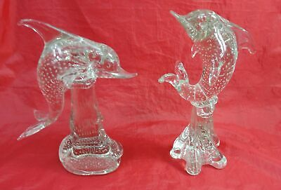 Vintage Murano 2 Large Dolphin Heavy Glass Figurines Blown Art Glass W/Bubbles