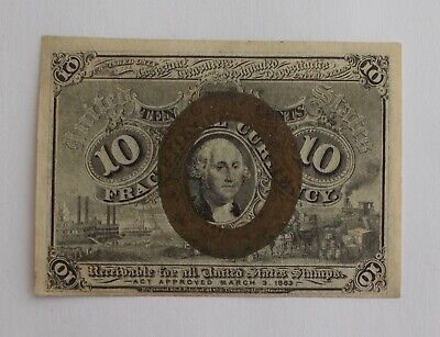 1863 FRACTIONAL 10 Cents Postage Currency Note~~Small & Rare