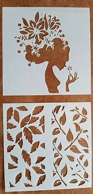 2 X Craft Stencil Template ~ Reusable ~ Flowers Leaves Woman Hair ~ New