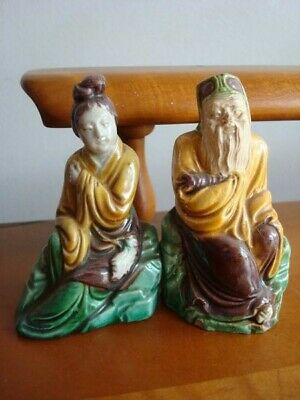 Antique Vtg Chinese Man Woman Immortal Figurines