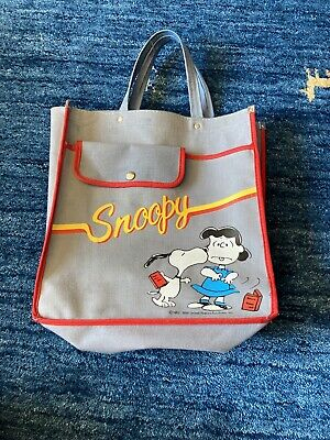 Vintage Peanuts Snoopy And Lucy Tote Bag Faded Blue