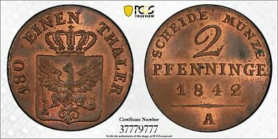 O6 German State Prussia 1842-A 2 Pfennig PCGS MS-64 Red Brown Top Pop:1/0