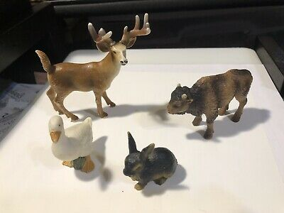 Schleich  Four Animals - Deer With Antlers,  White Duck, Rabbit, Buffalo