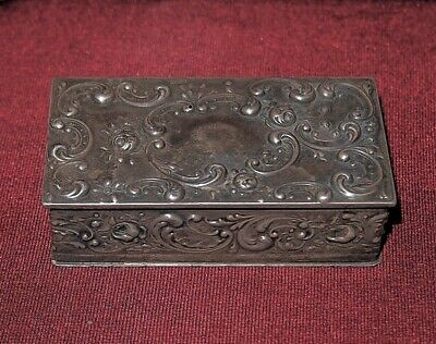 Antique Sterling Silver J.E. Caldwell & Co. Repousse Pillbox w/ Mahogany Insert
