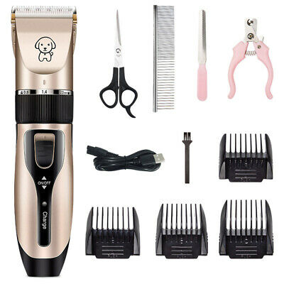Electric Pet Cat Dog Grooming Clippers Hair Trimmer Shaver Kit Cordless Quiet US