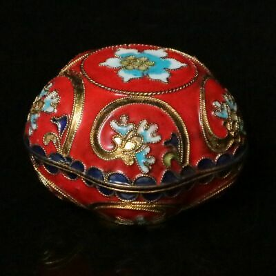 Chinese Collectible Handmade Copper Brass Cloisonne Enamel Makeup Boxes