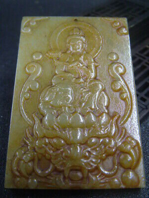 Antique Chinese Nephrite Celadon-HETIAN-OLD Jade KUANYIN-Statues/Pendant236