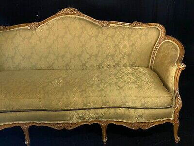 Antique Large Gold Floral Victorian Style Couch