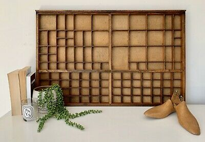 Vintage French Large Letterpress Wooden Printers Tray Refurbished Good Condition