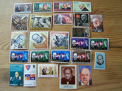 25 Different Churchill Stamps,Excellent.