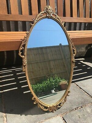 Vintage / Antique Oval Mirror with gold painted frame