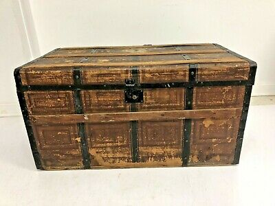 Vintage WOOD STEAMER TRUNK chest coffee table storage box luggage antique brown