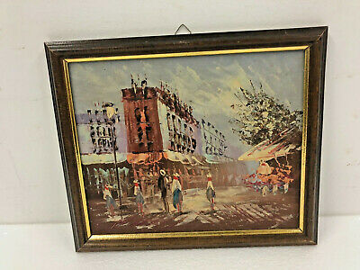 Vintage IMPRESSIONIST OIL PAINTING Framed wall art mid century modern paris 70s