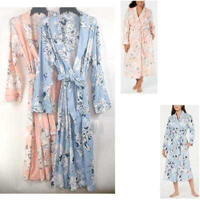 Charter Club Peony Floral Print Cotton Knit Long Robe Choose Size & Color New