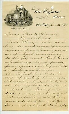 Letterhead, New York City, Hoffman House, 3 pages, Bass, bicycle related 1897