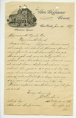 Letterhead, New York City, New Hoffman House, Plymouth Cycle note 1897