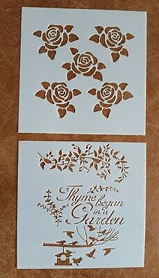 2 X Craft Stencil Template ~ Reusable ~ Roses Birds Thyme Garden Quote ~ New