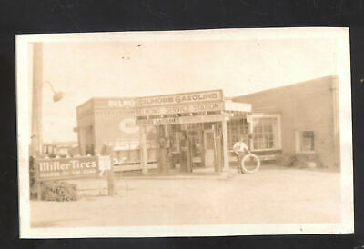 Real Photo Belmont Service Station Gilmore Gas Pumps Old Cars Postcard Copy