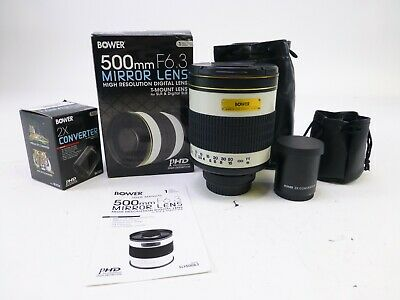Bower 500mm F/6.3 Mirror Lens for T-Mount w/ Canon T-EOS Adaper & 2x Converter.