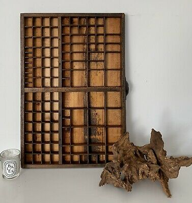 Vintage French Letterpress Wooden Printers Tray Refurbished In Good Condition