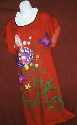 RED,FLORAL PRINT HOUSE DRESS,LINGERIE CHEMISE,SWIM COVER UP-Size Large