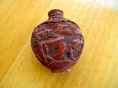 Vintage Chinese Carved Snuff Bottle Red
