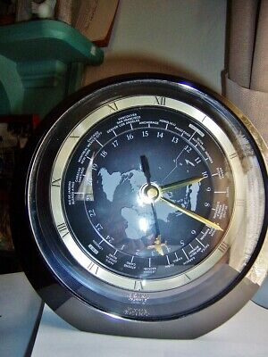 Vintage Seiko Quartz World Time Zone Clock With Airplane Second Hand Desk Mantle